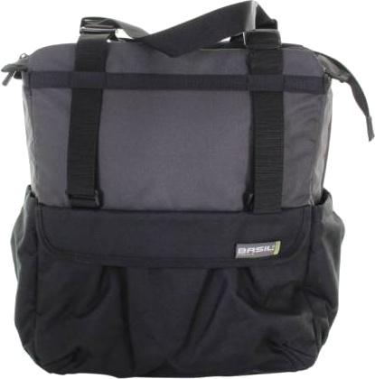 Basil shopper XL 20 liter zwart/grijs