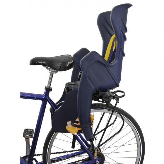 Bellelli fietszitje achter Little Duck Clamp donkerblauw/geel