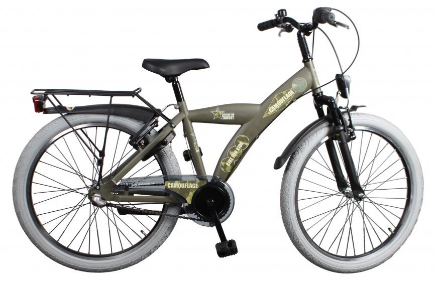 Bike Fun Camouflage 24 Inch 39 cm Jongens 3V V Brake Leger Groen