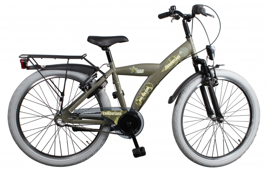 Bike Fun Camouflage 26 Inch 43 cm Jongens 3V V Brake Legergroen