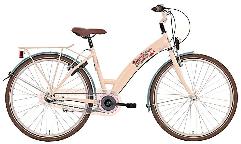 Bike Fun Candy Shop 24 Inch 38 cm Meisjes 3V Terugtraprem Beige