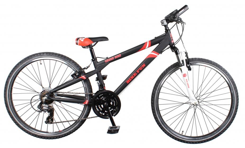 Bike Fun Crash 24 Inch 34 cm Jongens 21V V Brake Zwart