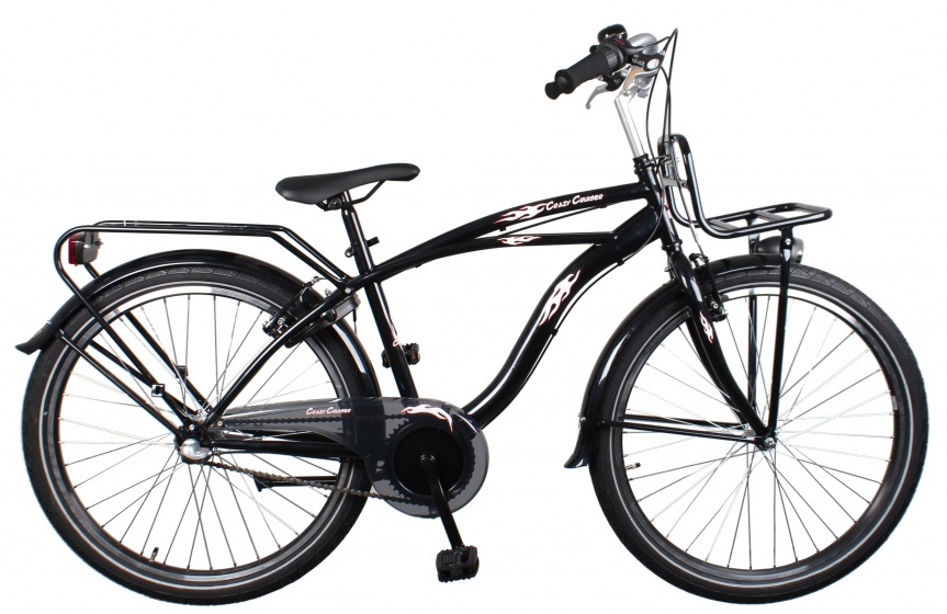 Bike Fun Cruiser 26 Inch 43 cm Jongens 3V Terugtraprem Zwart