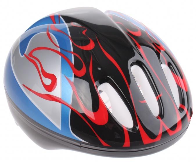 Bike Fun kinderhelm junior zwart/blauw maat 50/54 cm