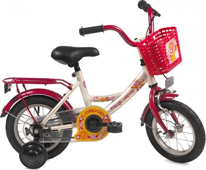 Bike Fun Lollipop 12 Inch 21,5 cm Meisjes Terugtraprem Crème/Rood