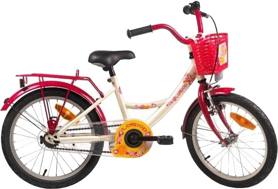 Bike Fun Lollipop 18 Inch 29 cm Meisjes Terugtraprem Crème/Rood