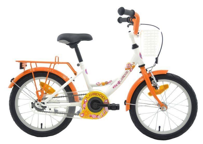 Bike Fun Lollipop 18 Inch 29 cm Meisjes Terugtraprem Wit/Oranje