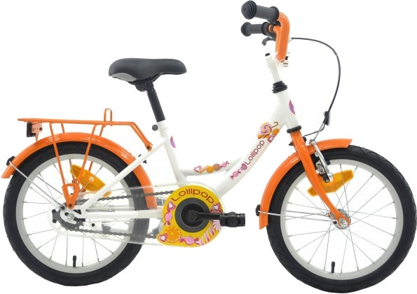 Bike Fun Lollipop 16 Inch 26 cm Meisjes Terugtraprem Wit/Oranje