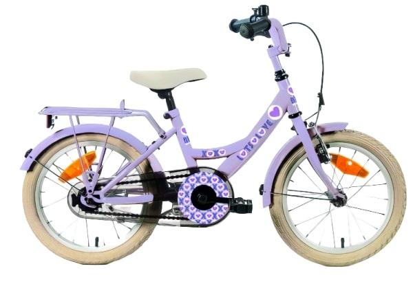 Bike Fun Lots of Love 16 Inch 22 cm Meisjes Terugtraprem Paars
