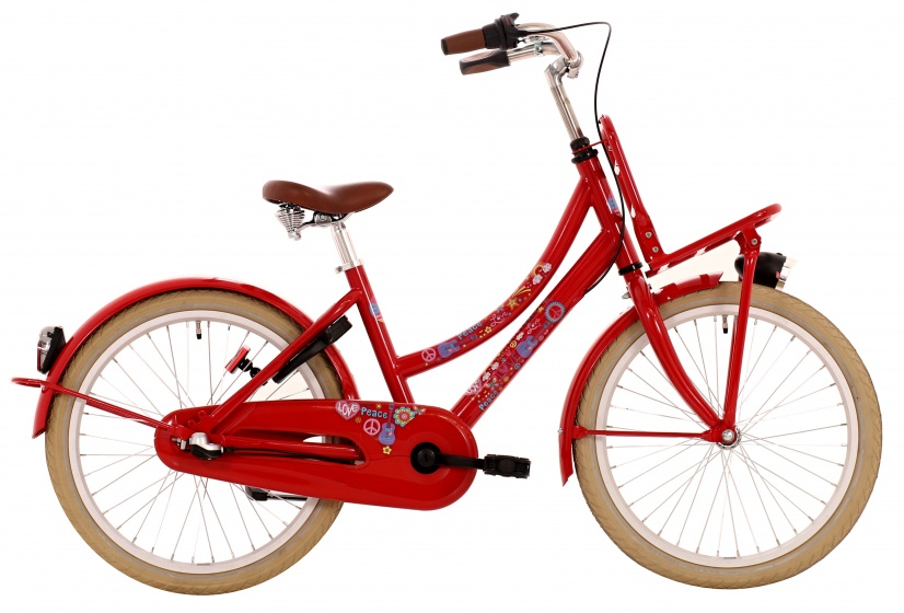 Bike Fun Love & Peace 20 Inch 34 cm Meisjes 3V Terugtraprem Rood