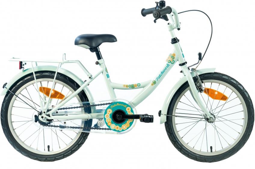 Bike Fun Patchwork 16 Inch 22 cm Meisjes Terugtraprem Lichtgroen