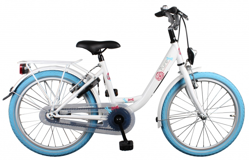 Bike Fun Pure 20 Inch 34 cm Meisjes Terugtraprem Wit/Blauw