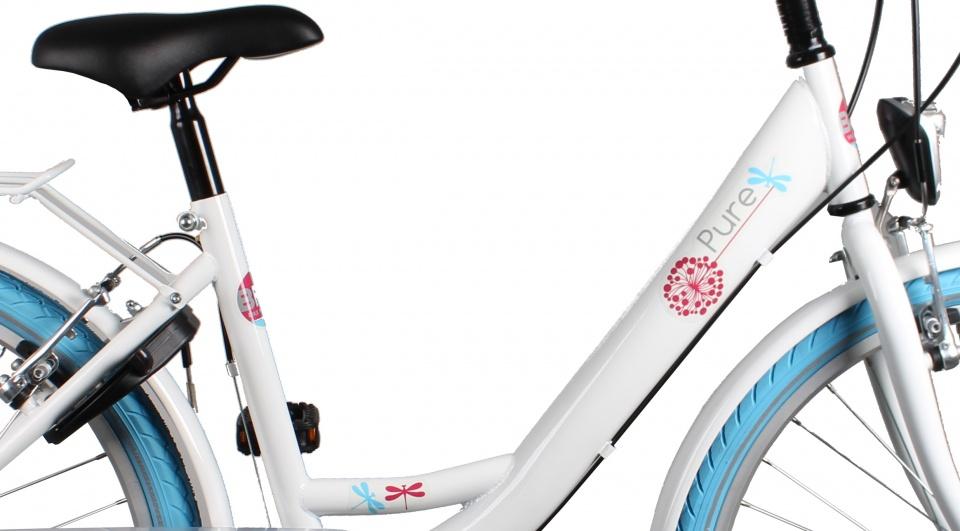 Bike Fun Pure 26 Inch 42 cm Meisjes 3V Terugtraprem Wit/Blauw