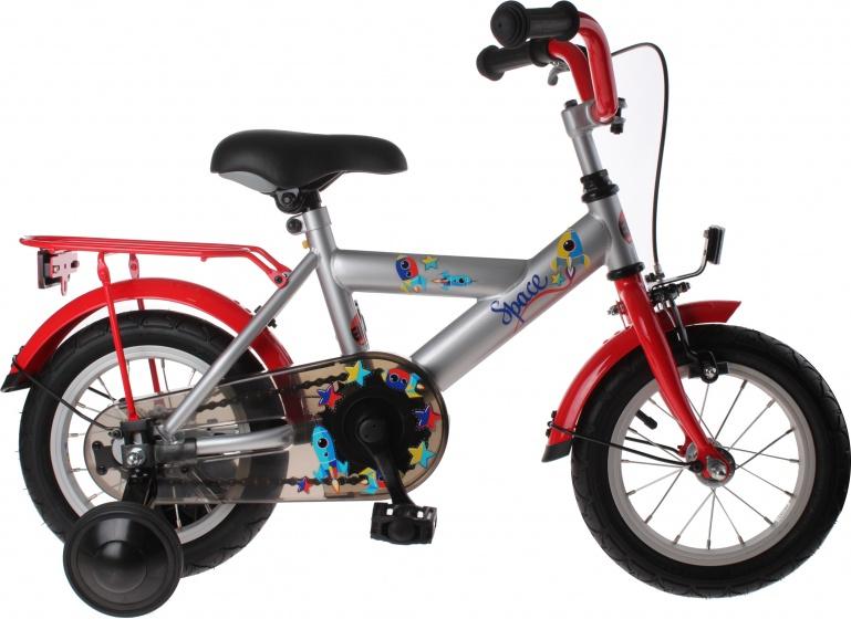 Bike Fun Space 12 Inch 21 cm Jongens Terugtraprem Zilver/Rood