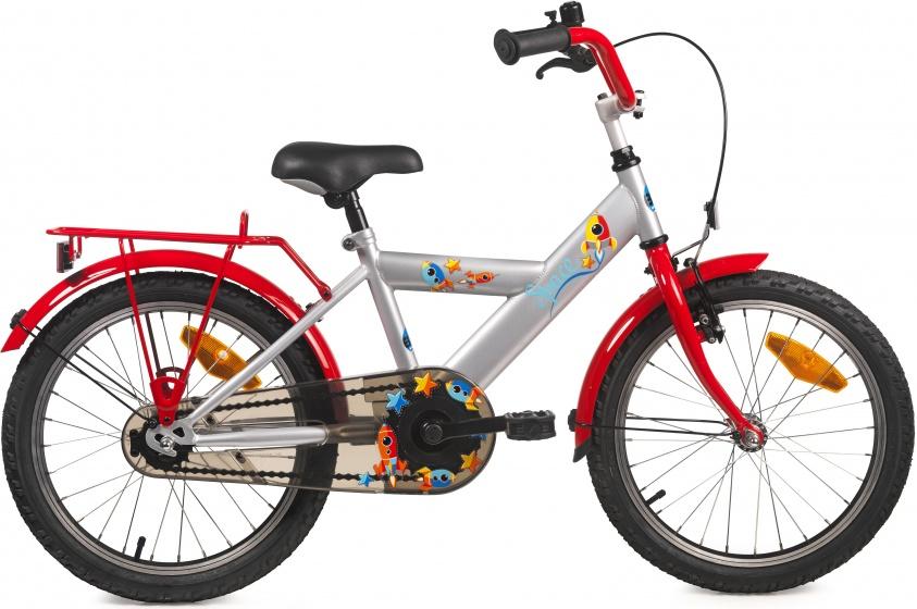 Bike Fun Space 18 Inch 29 cm Jongens Terugtraprem Zilver/Rood