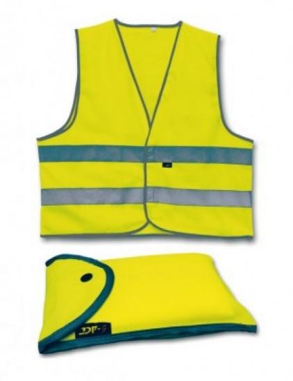 4 Act Veiligheidshesje+Tasje 2 Strepen Unisex Geel Maat XL