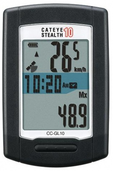 Cateye fietscomputer Stealth 10 GPS zwart