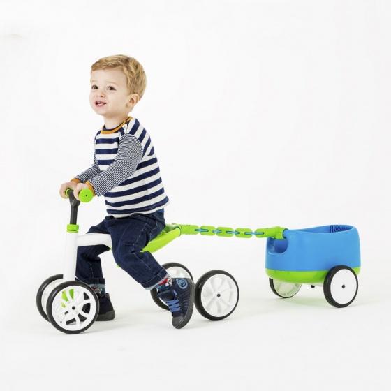 Chillafish Quadie loopfiets met trailer Junior Lime/Blauw