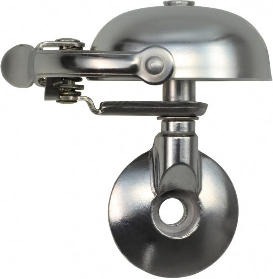 Crane fietsbel Mini Suzu 5 x 4,5 cm staal matzilver