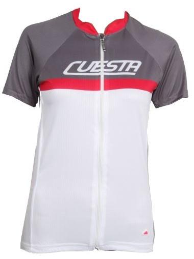 Cuesta Fietsshirt Orizzo korten mouwen dames wit/grijs maat L