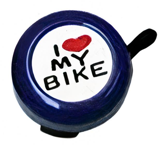 Cycle Tech fietsbel I Love My Bike 80 mm staal paars