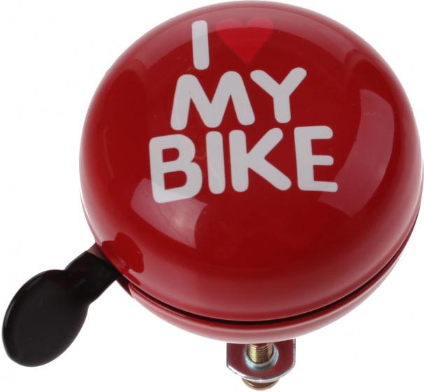 Cycle Tech fietsbel I Love My Bike 80 mm staal rood