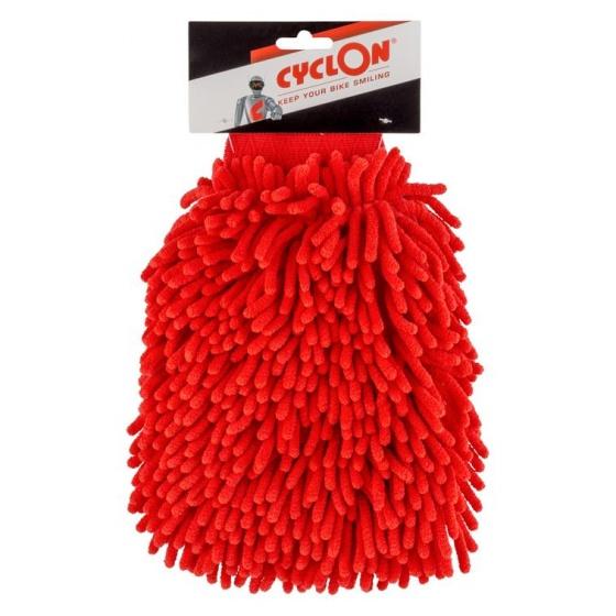 Cyclon washandschoen microvezel rood