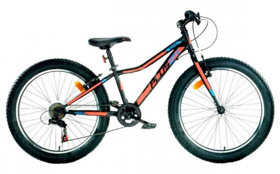 Aurelia Mountainbike 24 Inch 38 cm Junior 6V V Brake Zwart/Oranje