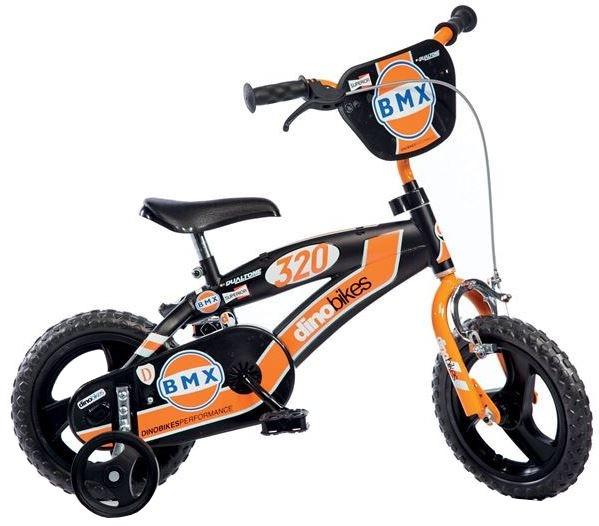 Dino BMX 12 Inch 18 cm Jongens Doortrapper Zwart/Oranje