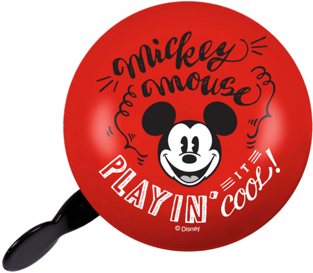Disney fietsbel Mickey Mouse Retro junior 80 mm staal rood