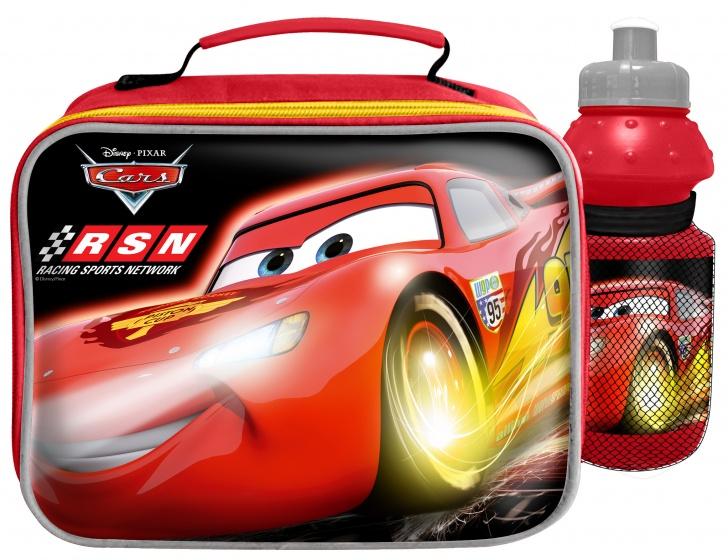 Disney kinderfietstas Cars met bidon jongens rood 2 delig