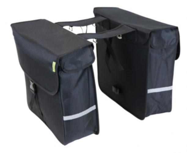 Dresco dubbele fietstas Luxe Shopper 40 liter nylon zwart