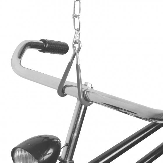 Dresco fietshaken met ketting 50 cm staal zwart/zilver 2 stuks