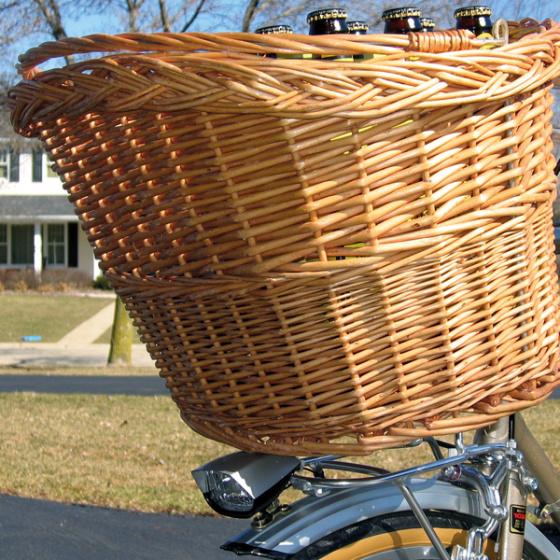 Dresco fietsmand voor/achter 30 liter riet bruin