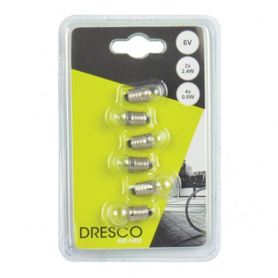 Dresco reservelampjes voor en achterlicht halogeen 6 stuks