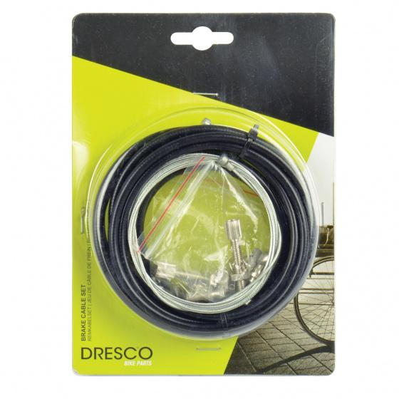 Dresco remkabelset universeel voor/achter zwart/zilver 4 delig