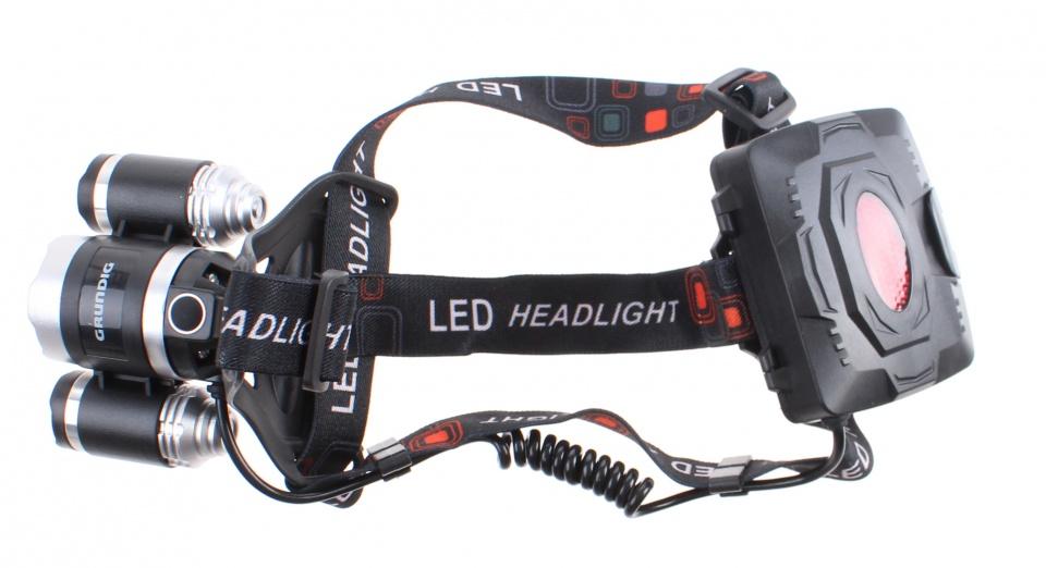 Dunlop hoofdlamp met 3 leds batterij 9 x 8 cm zwart 3 delig