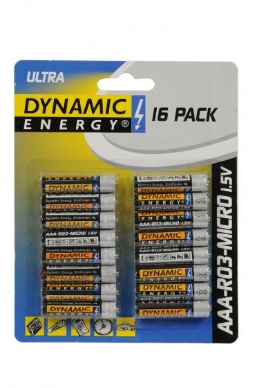 Dynamic Energy batterijen ultra R03 AAA zink 16 stuks