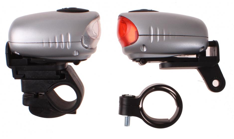 Dyto fietsverlichtingsset led opwindbaar zilver/zwart 4 delig