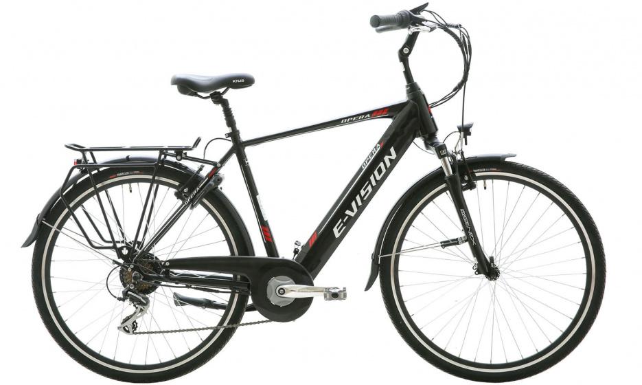 E vision Opera 28 Inch 50 cm Heren 7V V Brakes Zwart - Elektrische fiets