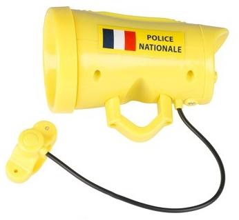 Eddy Toys fietssirene Franse politie jongens 12 cm geel
