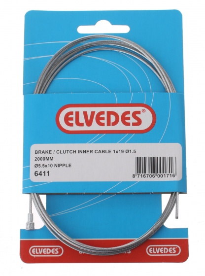 Elvedes Binnenremkabel achter 6411 peernippel 2000 mm zilver
