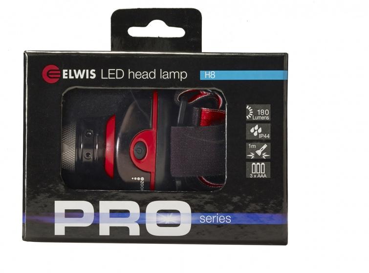 Elwis Pro hoofdlamp 3 standen 5,5 cm zwart/rood