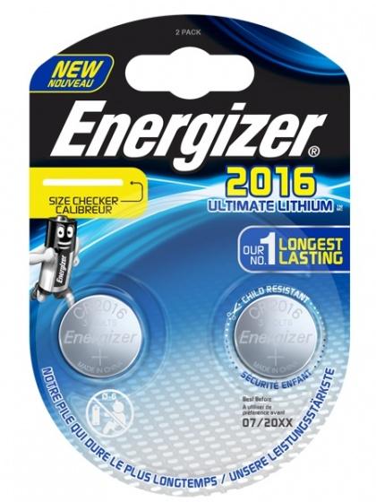 Energizer batterij knoopcel Ultimate Lithium 3V CR2016 2 stuks