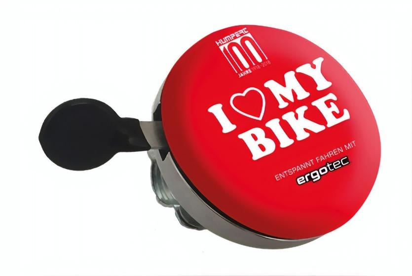 Ergotec fietsbel I Love my Bike 60 mm rood