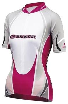 Exustar Fietsshirt E CJ34W dames wit/roze maat S