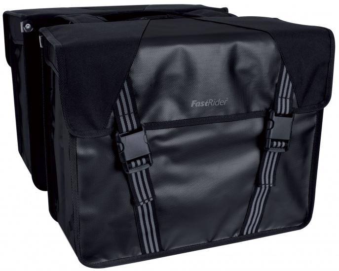 FastRider Dubbele Fietstas Trendy zwart 31 x 40 x 16 cm