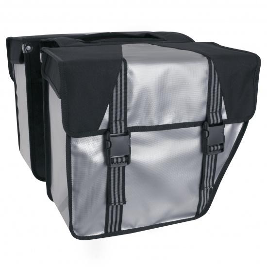FastRider LED Trendy DIA Dubbele Fietstas 32L Zilver