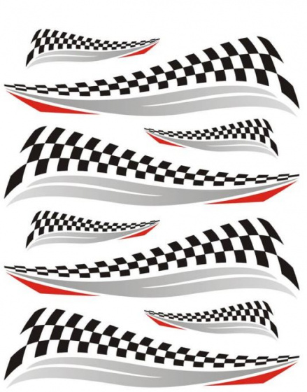 FC fietsstickers Finishvlag 24 x 20 cm papier zwart/wit