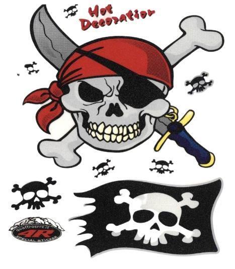 FC fietsstickers Piraat Skull 13,5 x 16 cm zwart/rood/wit